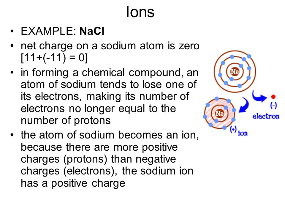 Ions EXAMPLE: NaCl net charge on a sodium atom is zero [11+(-11) = 0]